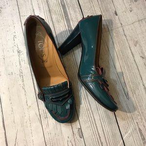 Tods Teal Loafer heels